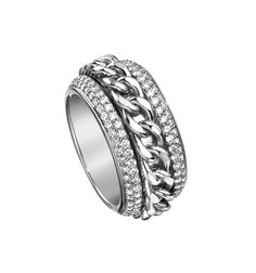 Piaget Possession classic chain motif #ring in 18K white #gold, set with 184 brilliant-cut #diamonds (approx. 1.75 ct).