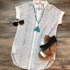 The classic shirtdress gets an upgrade with this white lace short sleeve option! It's great for a day out or as a cover up at the pool paired with a wedge sandal like this one! Shop in store, online, or call to order 678-309-9550! #shopatl #atlantaboutique #shopsmall #shoplocal #handinpocket #stayHIP #trendy #springtrends #springstyle #laceshirtdress #mystree #wedgesandal #outfitinspiration #ootd #love #vacationoutfit #casualoutfit