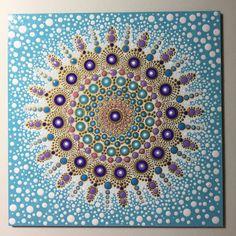 Hand Painted Mandala on Artist Panel Meditation Dot by MafaStones