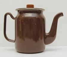 Vintage Enamelware Teapot Kettle Coffee Brown White Rustic Farmhouse Water Can