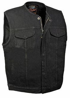 PPAREL-Men/'s Denim Club Style Vest Leather Trim /& Hidden Zipper