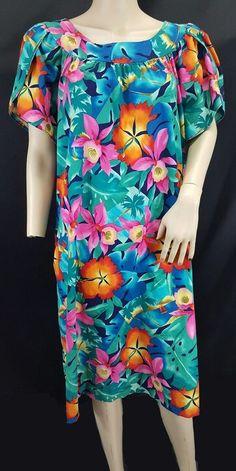 58eb35c9f156 Hilo Hattie split sleeve bright orchid hibiscus Hawaiian floral muumuu dress  XL #HiloHattie #BeachDressmuumuu