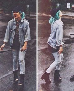 Fun Fact Love Halsey and her style and her music and just … 💙 Grunge, Melanie Martinez, Celebs, Celebrities, Her Style, Denim Button Up, Beautiful People, Cute Outfits, Tokyo