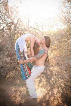 Hippie lovers yoga kiss