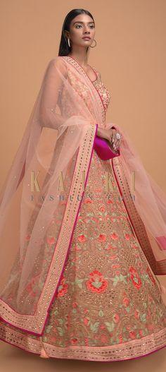 Melon Peach Anarkali Suit In Net With Resham Embroidered Floral Jaal And Kali Pattern Online - Kalki Fashion Wedding Salwar Kameez, Anarkali Suits, Pakistani, Festive, Peach, Sari, Neckline, Indian, Free Shipping