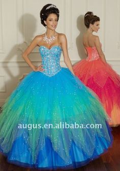 AP-038 2012 New Design Rainbow Effect Ball Gowns Quinceanera Dresses(China (Mainland))