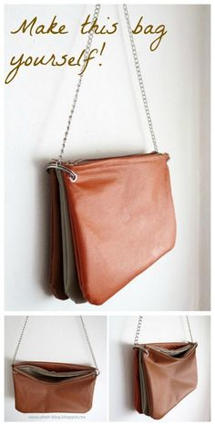 Free sewing pattern for how to make this trio zipped bag. Love to sew with faux leathers, people always admire the bags and want to know where I bought it! Visit http://www.sewinlove.com.au/category/fashion/accessories-fashion/ for more DIY Bags and Purse