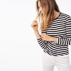 Striped Draped Crewneck Tee