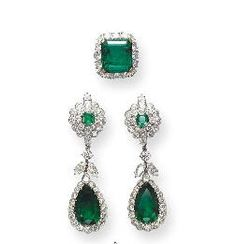 EMERALD AND DIAMOND JEWELRY, BY VAN CLEEF & ARPELS     The ear pendants set with detachable pear-shaped emeralds weighing approximately 15.03 & 14.27 carats, within a circular-cut diamond frame, suspended by a detachable marquise & circular-cut diamond trefoil motif from a similarly-set surmount; & a ring set with a rectangular-cut emerald weighing approximately 26.53 carats, enhanced by a circular-cut diamond frame and pavé-set diamond shoulders, mounted in 18K gold & platinum