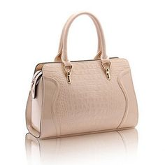Trendy Crocodile Print and Patent Leather Design Tote Bag For Women, LIGHT KHAKI in Tote Bags   DressLily.com