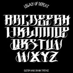 I'm proud to present my personal gothic alphabet. It is based on Fraktur. A lot of glyphs are transformed and renewed. Tattoo Lettering Alphabet, Calligraphy Fonts Alphabet, Tattoo Lettering Styles, Chicano Lettering, Graffiti Lettering Fonts, Hand Lettering Fonts, Cool Lettering, Typography Letters, Lettering Design