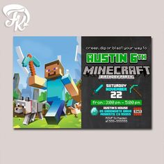 Minecraft Birthday Party Wolf Card Digital Invitation Kid Birthday Party Child…
