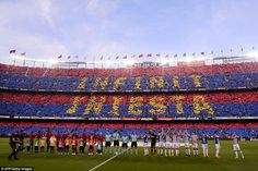 The entire stadium took the chance to show their appreciation toward Iniesta before the La...