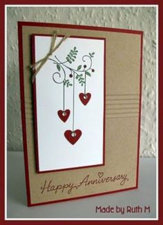 Sweet Summer Sprig with hearts Happy Anniversary by FubsyRuth - Cards and Paper Crafts at Splitcoaststampers Valentines Day Cards Handmade, Valentines Diy, Greeting Cards Handmade, Homemade Birthday Cards, Homemade Cards, Diy Birthday, Sister Birthday, Birthday Images, Birthday Quotes