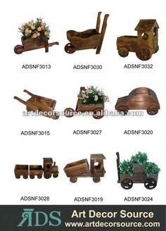 Decorative wooden wheelbarrow planters