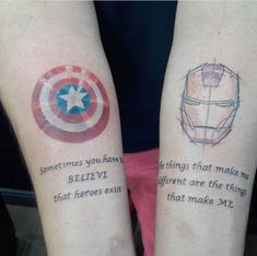 A veces hay que CREER que existen hroes quot; Tatoo Art, Body Art Tattoos, New Tattoos, I Tattoo, Small Tattoos, Cool Tattoos, Tatoos, Avengers Tattoo, Marvel Tattoos