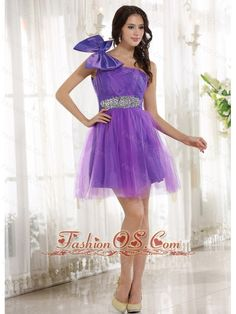 Eggplant Purple One Shoulder Beading and Bow 2013 Prom Cocoktail Dress With Tulle- $107.36  http://www.fashionos.com  | ready to ship prom dress | online store sell prom dress | short homecoming dress | websites for prom dresses | where to find a prom dress | a line short prom dress |