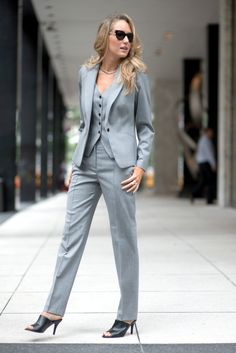 three piece gray suit with mules