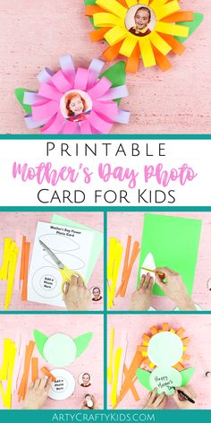 Mothers Day Cards for Kids Flowers w/ Photo - Diy and crafts interests Easy Mother's Day Crafts, Easy Arts And Crafts, Mothers Day Crafts For Kids, Spring Crafts For Kids, Crafts For Kids To Make, Mothers Day Cards, Printable Crafts, Printables, Mother's Day Activities