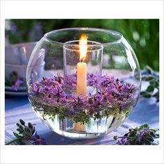 Centerpieces With Orchids And Floating Candles Video Tutorial Purple Wedding, Wedding Flowers, Lavender Wedding Theme, Candle Centerpieces, Fish Bowl Centerpiece Wedding, Lavender Wedding Centerpieces, Winter Centerpieces, Centerpiece Ideas, Deco Floral