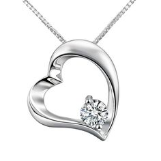 Adan Banfi Sterling Silver Heart Pendant Necklace White Gold Plated Jewelry
