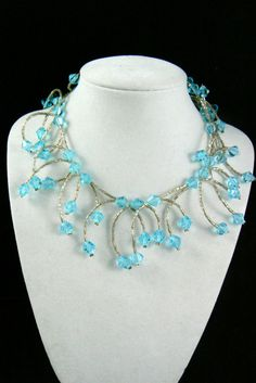 "Blue Crystal Beads Silver tone branch cluster collar bib necklace 15.25""L $0 sh"