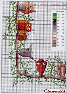 Ideas Baby First Christmas Cross Stitch Watches Cross Stitch Owl, Beaded Cross Stitch, Cross Stitch Borders, Cross Stitch Animals, Cross Stitch Charts, Cross Stitch Designs, Cross Stitching, Cross Stitch Embroidery, Embroidery Patterns