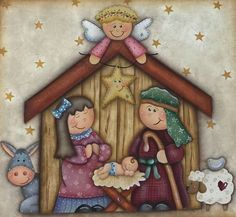 Christmas Manger, Christmas Nativity Scene, Christmas Wood, Country Christmas, Christmas Drawing, Christmas Paintings, Natal Country, Country Paintings, Christmas Scrapbook
