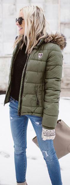 #winter #fashion / Green Puff Jacket / Back Knit / Ripped Skinny Jeans
