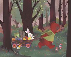 2016-09-01-09-05 greg abbott art artist illustration illustrator 2016 mouse squirrel side walk hedgehog rabbit bunny bear mice forest wood cart diy hardware carpentry chalk childrens character