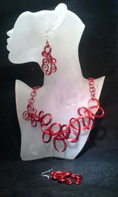 Red Colored Wire Necklace and Earrings Set by SoftlySisterDesigns