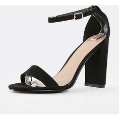 Faux Suede Chunky Heels BLACK ($27) ❤ liked on Polyvore featuring shoes, pumps, black chunky heel shoes, black pumps, black shoes, faux suede pumps and wide heel shoes