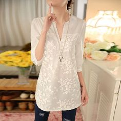 Cheap korean women blouse, Buy Quality white lace blouse directly from China printed blouse Suppliers: New V-neck Organza Embroidered Shirt White Lace Blouse Top Plus Size Summer Korean Women Blouse Flower Print Blouse 25 Cheap Blouses, Shirt Blouses, Blouses For Women, Lace Blouses, Lace Tops, Blouse Col V, Korean Blouse, White Lace Blouse, Fashion Clothes