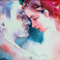 LOVERS Giclee Print  Watercolor Painting by Ragen by ragensart, $50.00