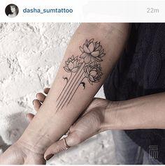 Line work flowers tattoo