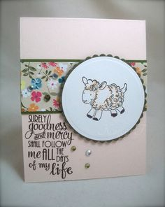 Hand stamped card by K. Joy using the Psalm 23:6 verse from  the Surely Goodness set by Verve. #vervestamps