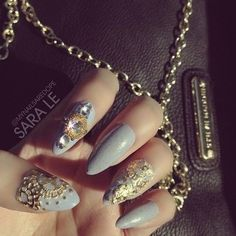 Grey nails with embellishments