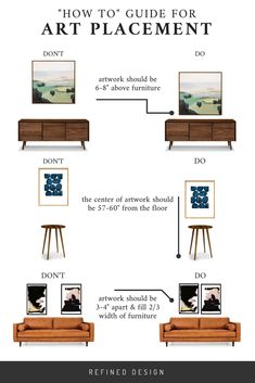 """4 mistakes you might be making when hanging art. A how to guide for artwork placement - how high to hang art and how far apart. Interior Design art hanging rules by Refined Design. diy Interior design A """"HOW TO"""" GUIDE FOR ART PLACEMENT Home Design, Interior Design Guide, Interior Design Minimalist, Interior Design Living Room, Design Art, Design Styles, Design Ideas, Interior Design Principles, Kitchen Interior"""