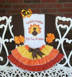 nice 4 pc. Girls Thanksgiving Outfit! Baby Girls Thanksgiving Outfit/ First Thanksgiving outfit/Gobble Till You Wobble/Thanksgiving Turkey Outfit