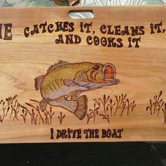 Fun Custom cutting board for the Fishing Wife! https://smolderingcreationswoodburning.com/