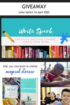 GIVEAWAY: 5 Creative Writing Courses for 9-13 year olds. Enter before 1st April 2020. Write the caption WRITESPARK GIVEAWAY on my Facebook page to enter the draw.