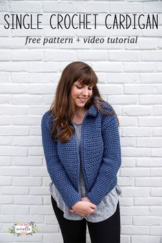 Single Crochet Cardigan perfect for beginners! In sizes XS-3XL women's with adjustments for unisex sizing! Free pattern