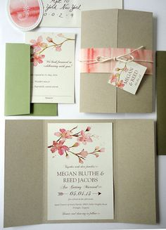 Items similar to SAMPLE - Peachy Blossoms Watercolor Wedding Invitation Set (Recycled Taupe Gate Fold) on Etsy Watercolor Wedding Invitations, Wedding Invitation Design, Wedding Stationary, Wedding Paper, Wedding Cards, Cherry Blossom Wedding, Crystal Wedding, Advice For Bride, Wedding Designs
