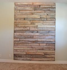 DIY Pallet Headboard- love the floor to cieling look...
