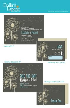 Dandelion Wedding Invitation RSVP Thank your by DallinsPaperie, $25.00