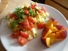 2 egg white, 1 egg scramble blended with low fat cottage cheese, topped with tomato avocado salsa and fresh fruit