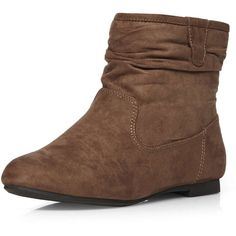 Dorothy Perkins Mink ''Megan' Suedette Ankle Boots ($27) ❤ liked on Polyvore featuring shoes, boots, ankle booties, brown, flat bootie, scrunch ankle boots, brown bootie, flat ankle bootie and bootie boots