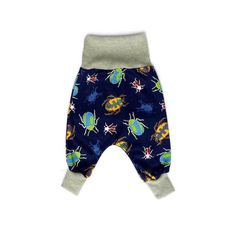Harem pants for babies and toddlers. Beetle print.