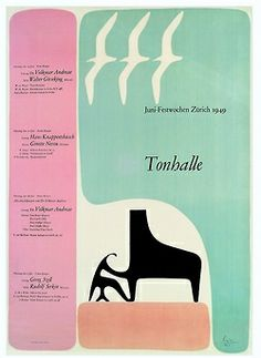 Max Bill, poster for Tonhalle concert, 1949