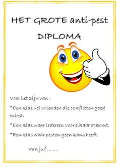 Werk een hele periode rond pesten en geef de klas een diploma als beloning.